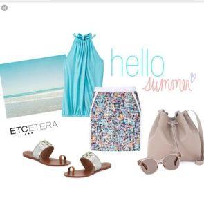 Etcetera Darling multi color mini skirt